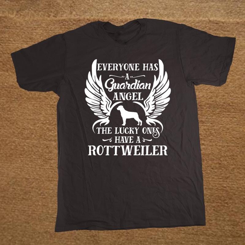 Brand Funny My Guardian Angel Is A Rottweiler T Shirt Tshirt Men Cotton Short Sleeve T-shirt Top
