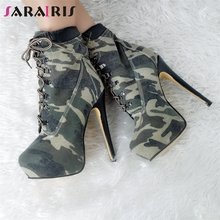 Brand Design Big Size 47 Sexy Camouflage Cool Women Shoes Boots Woman Nightclub Party High Heels Ankle