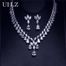 UILZ Brand New Luxury Women Anniversary Jewelry Sparkling  Water Drop Cubic Zirconia Jewelry Set For Wedding US306