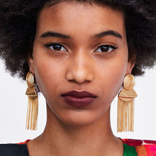 Dvacaman 2018 Fashion Women Big Brand Design Tassel Earrings Boho Ethnic Indian Jewelry Gold Color Long Fringe ZA Drop Earrings