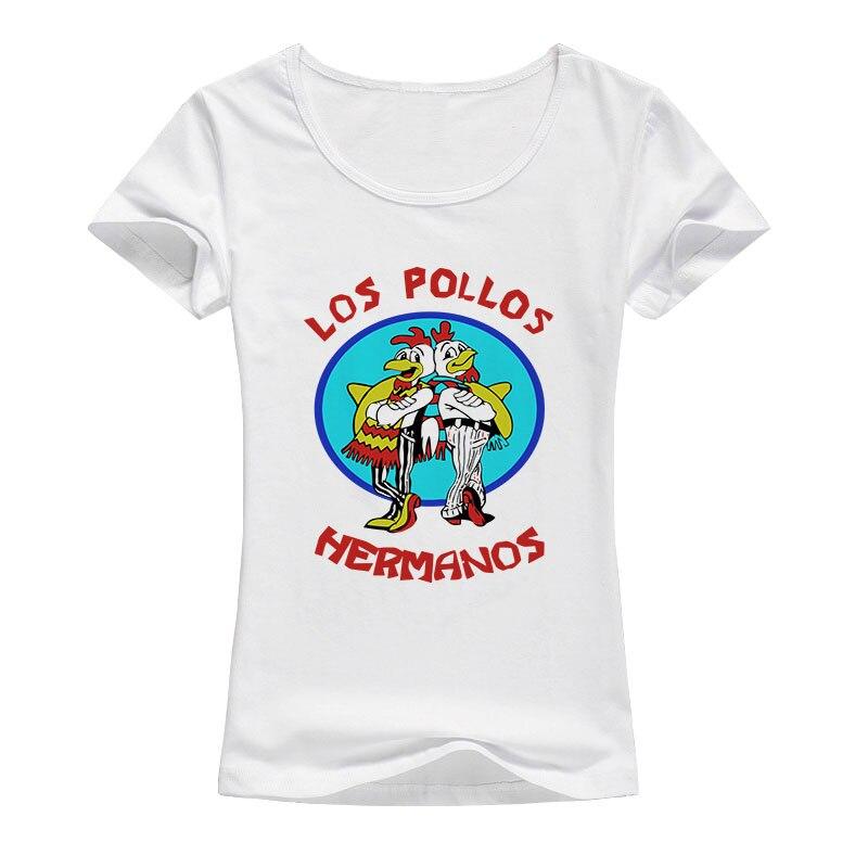 Camiseta de Breaking Bad de LOS Hermanos, camisetas para mujeres, Tops de LOS POLLOS Hermanos, camiseta raglán casual de dibujos animados de Verano 2017 para fans A008
