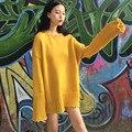 Estilo de muy buen gusto Suéter de Gran Tamaño Breve Color Sólido Medio-Largo de Las Mujeres Suéteres y jerseys