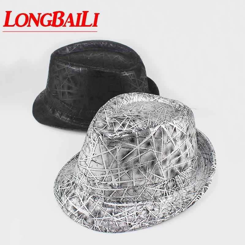 b86b03b2ead Autumn Leather Fedora Hat Pattern Trilby Jazz Caps Gangster Fedora Hats For  Men MEDB010
