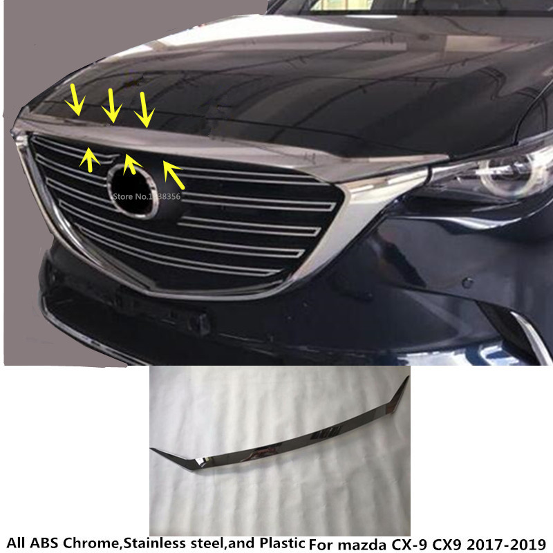 For Mazda CX-9 CX9 2017 2018 2019 car styling garnish cover ABS Chrome front engine Machine grille upper hood lid trim lamp 1pcs for nissan x trail xtrail t32 rogue 2014 2015 2016 abs chrome front engine machine grille upper hood stick lid trim lamp 1