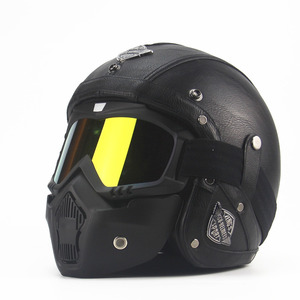 Image 4 - Leather  Helmets 3/4 Motorcycle Chopper Bike helmet open face vintage motorcycle helmet  motocross