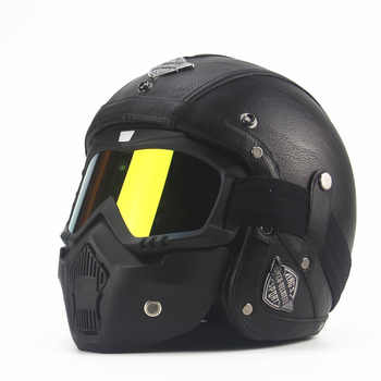 Leather Helmets 3/4 Motorcycle Chopper Bike helmet open face vintage motorcycle helmet with goggle mask motocross