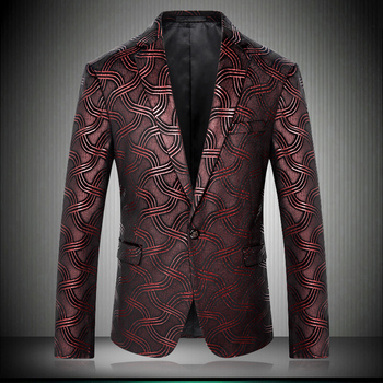 High Quality 2019 Slim Fit Stripe Blazers For Men Stage Costumes For Singers Prom Wine Red Blazers Male Suit Jacket 8682