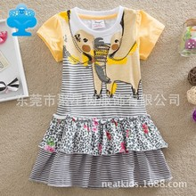 2016 Wholesale BABY Girl Clothes short Sleeve Girls Dress Kids pretty Dresses Full A-line children clothing cute style Q9102