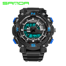 New SANDA Men Dual Time Zone Alarm  Sport Watches Mens Quartz Wrist watch Silicone Waterproof Dive Sports Digital Watches