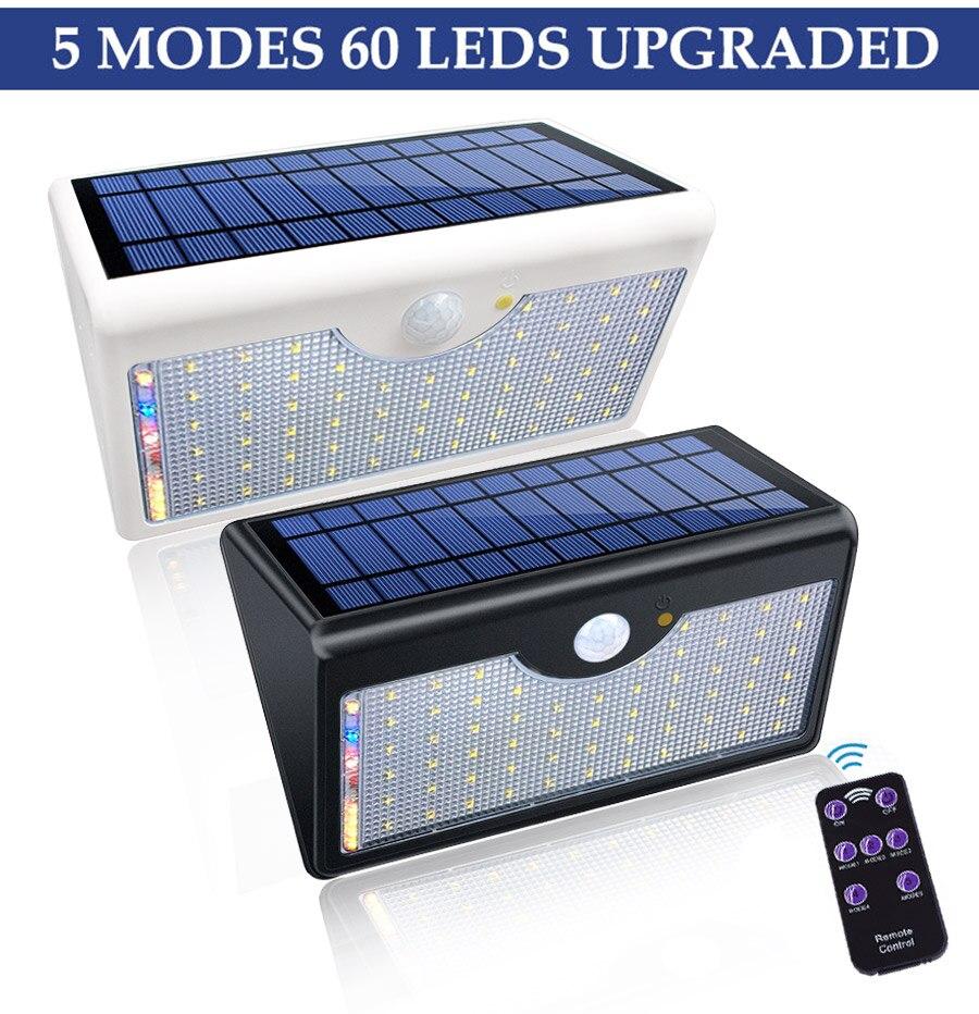 com cinco modos em um lâmpadas solares 60 led solar luz
