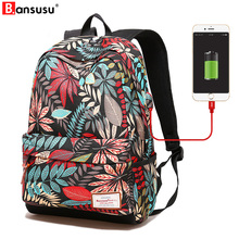 Bansusu USB Charging Women Backpacks For Teenager Waterproof Print Large Girl School Bag Casual Ladies Travel