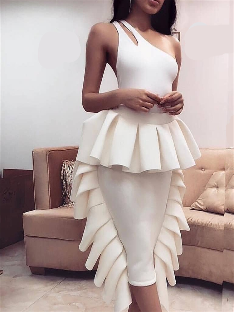 Fashion Two Piece Sets Summer Women Sexy One Shoulder Tops With Skirts Off Shoulder Backless Ruffles Club Night Party Slim Jupes