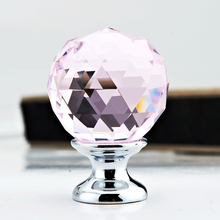 multicolor k9 crystal round ball knobs furniture glass drawer handles pink glass drawer pulls closet decoration handle