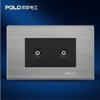 Miễn phí Vận Chuyển, POLO Tường Sang Trọng của Socket Panel, 2 TV Socket, rượu sâm banh/Đen, Điện Ổ Cắm Điện, cắm, 110 ~ 250 V