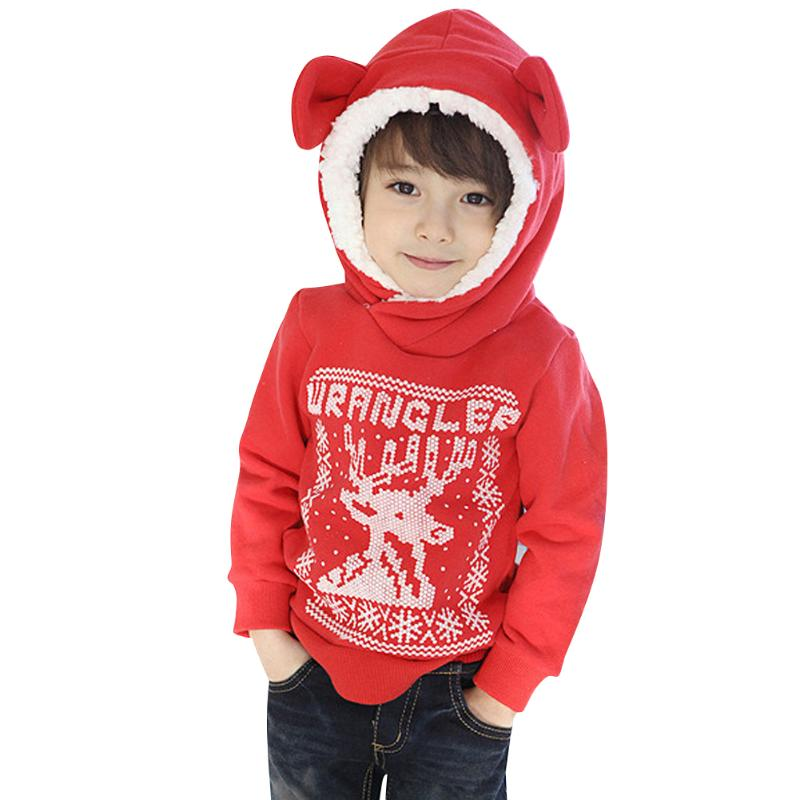 Red Hooded Sweatshirt for Boy New Years Costume Winter Warm Christmas Sweater Kids Cotton Tops Clothes
