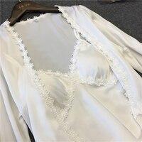 Lengthed халат сексуальный халат и платье Наборы для ухода за кожей 2 шт. Для женщин Кружево Халаты Костюмы Ванна Халаты с нокдауна бюстгальтер пижамы Ночная бренд домашней одежды