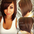 Cheap Sale Top Quality Heat Resistant Hair Short brown Bob Wigs Glueless Synthetic Lace Front Wigs Cut Natural Hairline