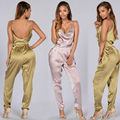 Fashion Long Rompers Womens Jumpsuit Office Lady Bodycon Suits One Piece Backless Suit Women Pink Satin Suit NightClub Wear