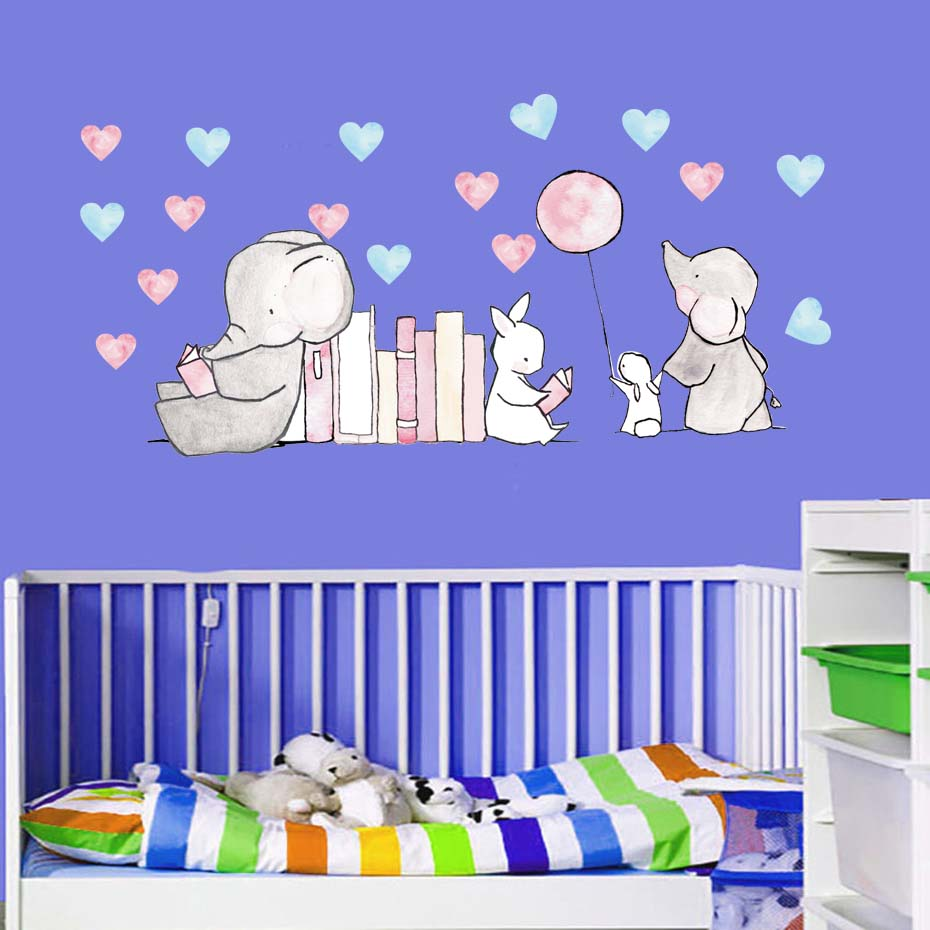 2018 new cartoon animal Elephant rabbit wall stickers for kids rooms home decor cute Elephant heart wall decals diy mural art in Wall Stickers from Home Garden