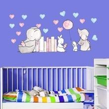 2018 new cartoon animal Elephant rabbit wall stickers for kids rooms home decor  cute Elephant heart wall decals diy mural art цена