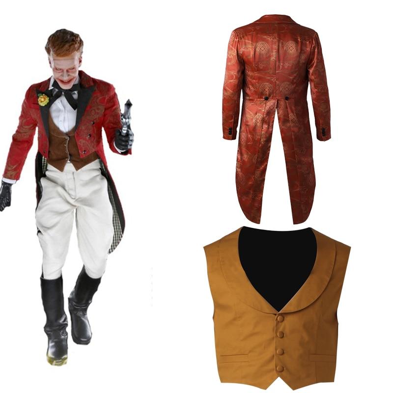 Gotham Jerome Valeska Cosplay Costume Adult Men Halloween Carnival Gentlman Only Coat Vest Pants Hat Accessories Custom Made