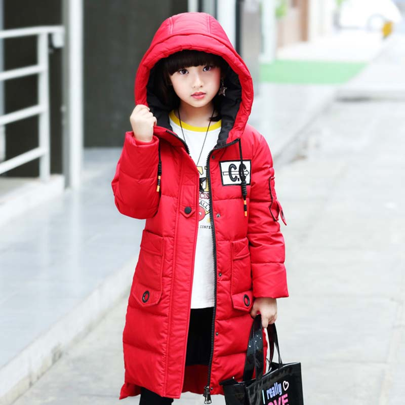 plaid down jacket with pockets Fashion Girls Winter Down Jacket Children's Long Model Patchwork Coat Outerwear Warm Hooded Parkas Kids Clothes With Big Pockets