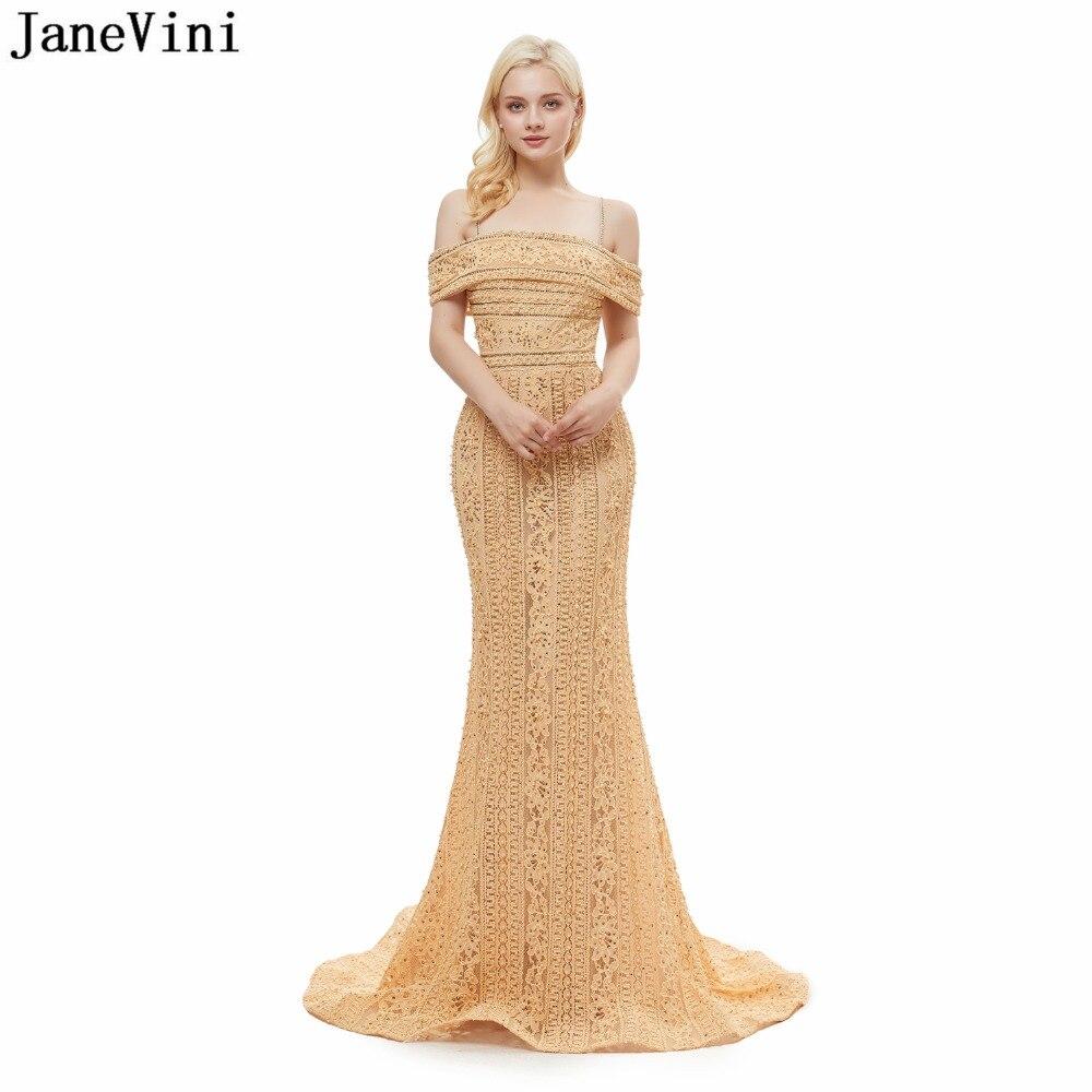 JaneVini Gorgeous Dubai Beading Mermaid Long   Bridesmaid     Dresses   Spaghetti Straps Vintage Gold Lace Formal Prom Gowns Sweep Train