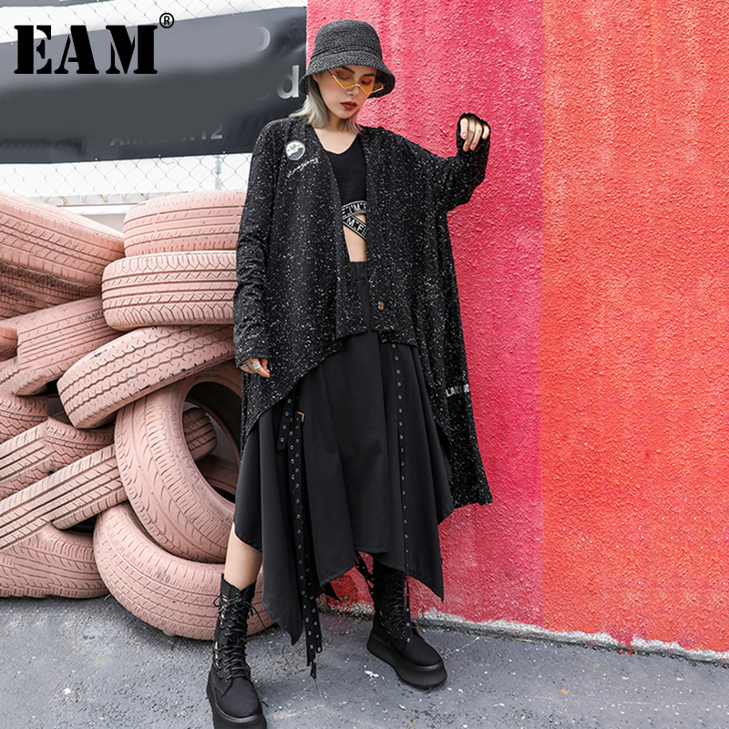 [EAM] Loose Fit Irregular Hem Oversize Printed Jacket New Lapel Long Sleeve Women  Coat Fashion Tide Autumn Winter 2019 JZ125