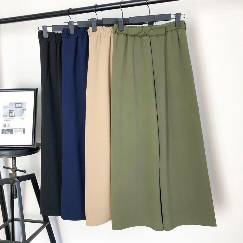 2019 Women Chiffon   Pants   Spring Summer High Waist   Wide     Leg     Pant   Female Loose Holiday Solid Ankle-Length   Pant   Trouser With Belt