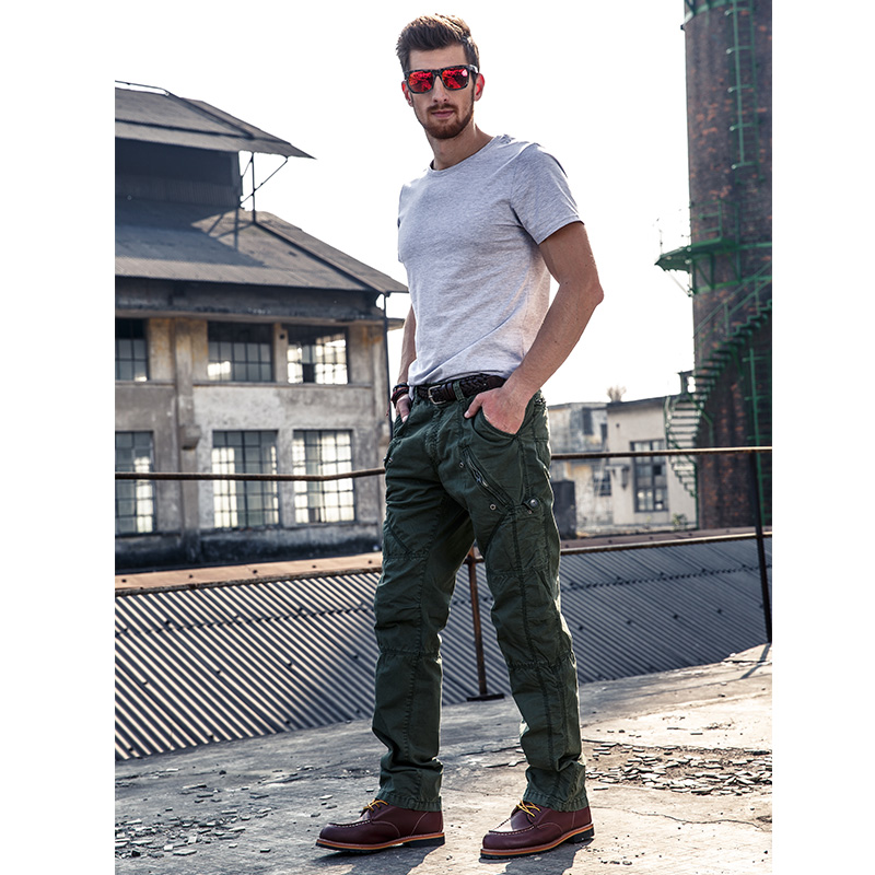 AIRGRACIAS Multi-Pocket Men's Military Cargo Pants Loose Style Men Pants Tactical Casual Long Trousers Male Zip Fly Size 29-38 5