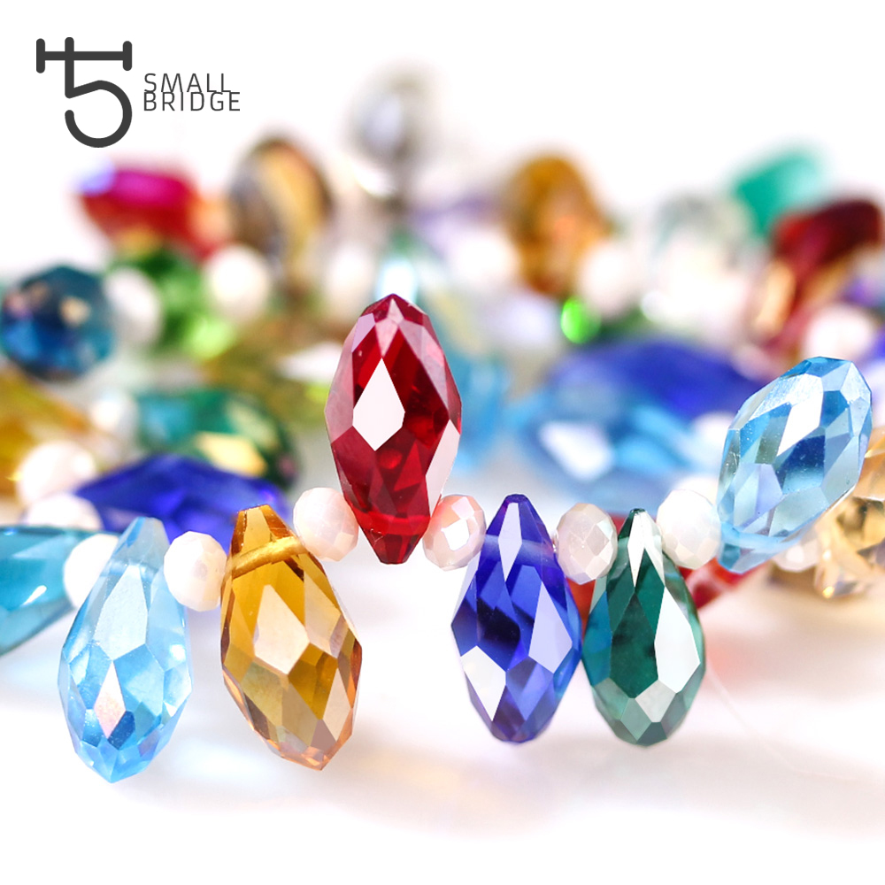 Austria AAA Mala Hole Glass Bead For Jewelry Making Bracelet DIY 6*12MM Pretty Shiny Briolette Crystal Bead Set Wholesale Z001