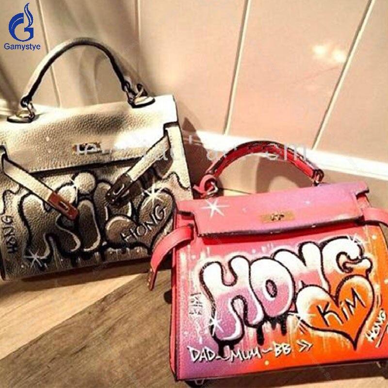 все цены на Gamystye 100% Handmade Hand Painted Graffiti Bags Hardware Togo Genuine Leather bag Crossbody For Women Big Shoulder bag Totes Y онлайн
