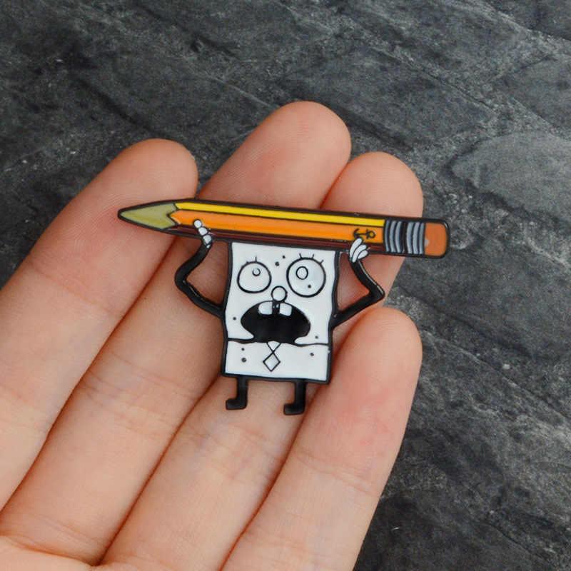 2019 Lucu SpongeBob Bros untuk Wanita Pria Kartun Sponge Pensil Perhiasan Enamel Pin Denim Jaket Kerah Lencana Pin Tombol Hadiah