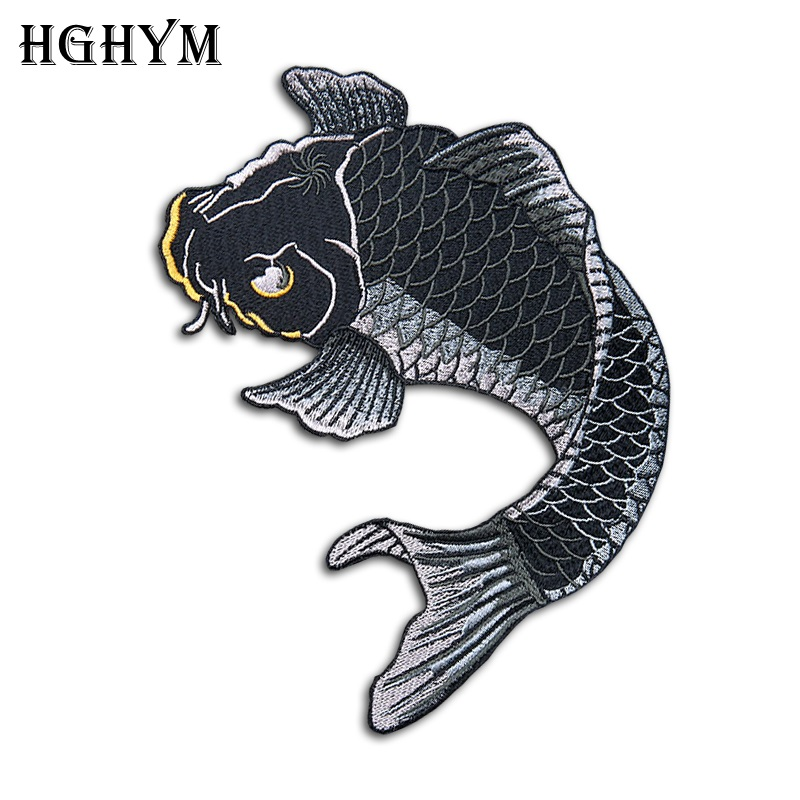 Hghym Cool Embroidered Carp Fish Patches 14x19cm Appliqued Iron On Patch For Sale Jean Jacket Clothes Handmade Sewing Craft Diy Applique Iron On Iron On Patchesiron On Aliexpress