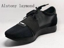 Топ мода весна осень женщины повседневная обувь черный 2017 хорошее качество женщин сетка обувь летние квартиры обувь любовник тренер
