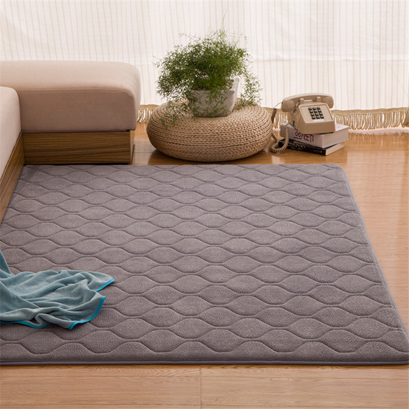 Classic Solid Carpet Memory Foam Big Rug Grid Mat Hallway