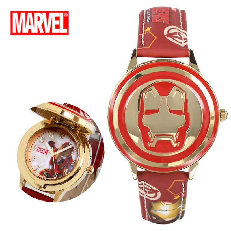 High Quality Kids Flip Watch Super Hero Spiderman Waterproof Anime Leather Strap Quartz Boy Child Watch Reloj Hombre For Gift
