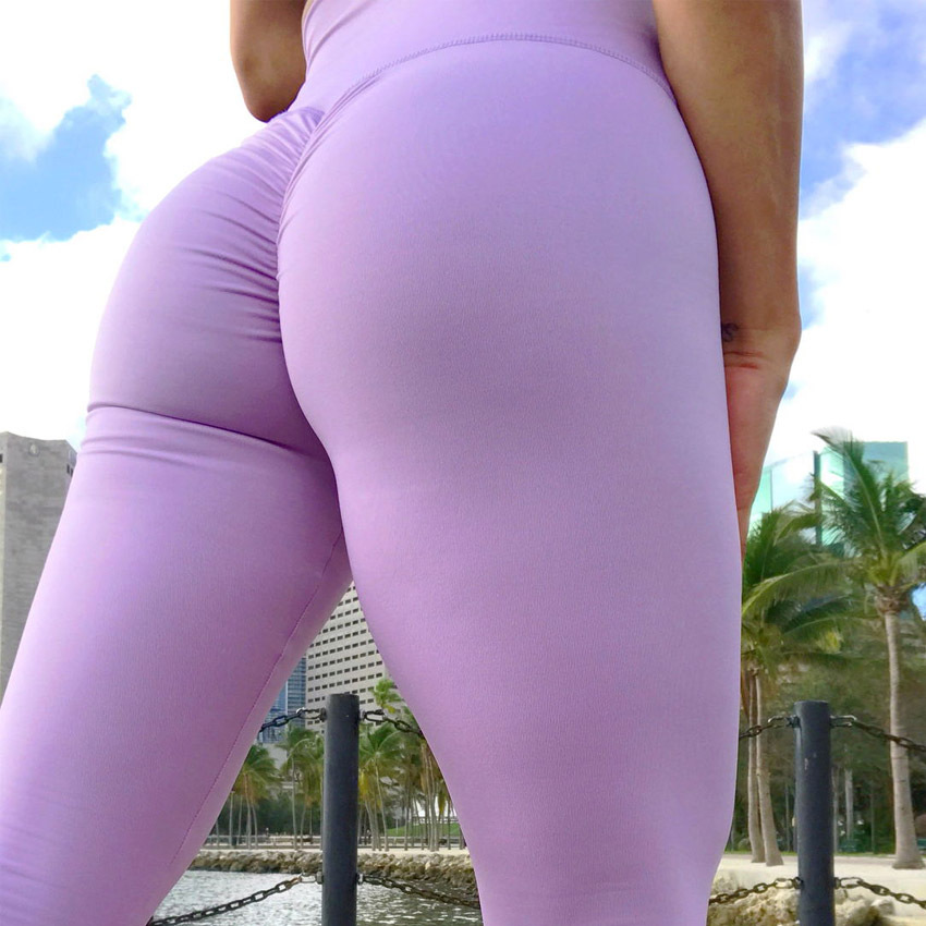Sexy Push Up Fitness Leggings Women High Waist Workout Leggings Mujer Fashion Wrinkle Sportswear Leggings Femme
