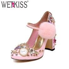 WETKISS/на высоком каблуке Мэри Джейн Для женщин насосы круглый носок из натуральной кожи аппликации обувь роскошные меха Женская Весенняя Свадебная обувь