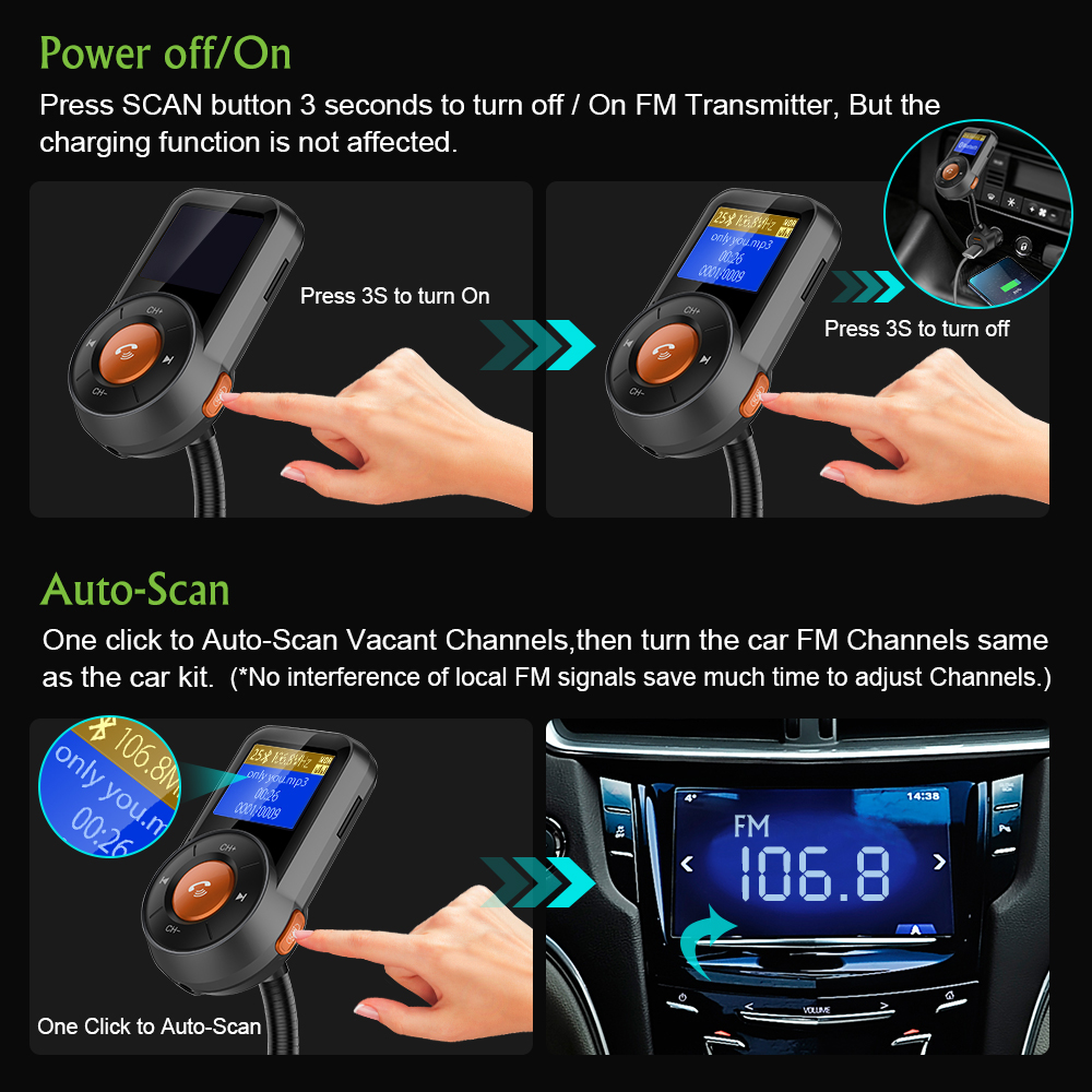 Image 3 - Car FM Transmitter Bluetooth Hands Free Dual USB QC3.0 Fast Charger LCD Transmissor Modulator Transmetteur Voiture Kit Radio MP3-in FM Transmitters from Automobiles & Motorcycles