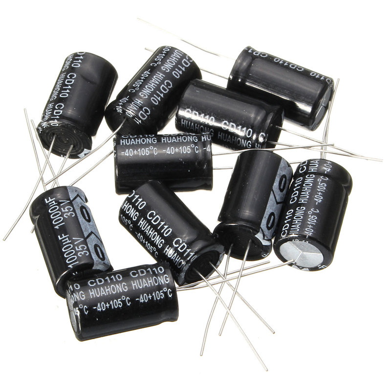 2017 Hot New 10Pcs 35V Capacitors Assorted Set 20mm X 13mm 1000UF Electrolytic Capacitor Assortment Kit
