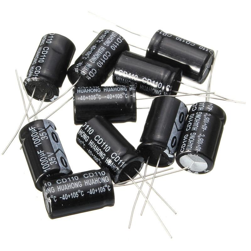 2017 Hot New 10Pcs 35V Capacitors Assorted Set 20mm X 13mm 1000UF Electrolytic Capacitor Assortment Kit