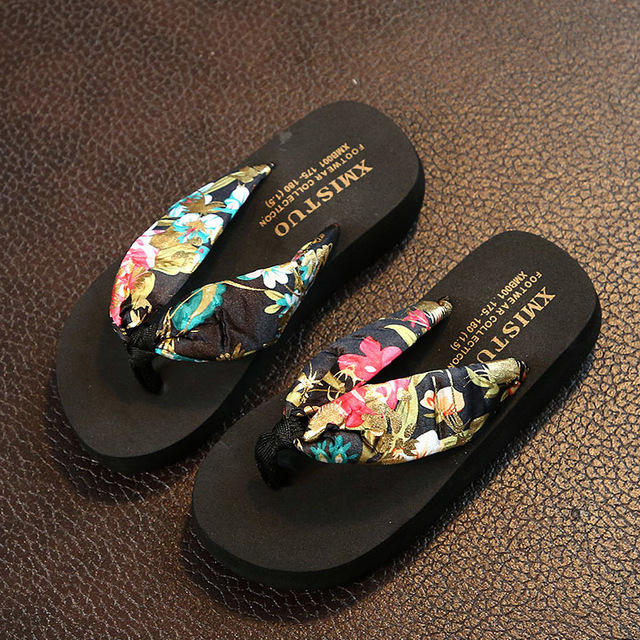 a6bee8e536c9f1 Mother and Daughter Summer Bohemia Satin Muffin Beach Flip Flops  FashionGirls Wedge Slippers Family Matching Sandals Shoes 25-42