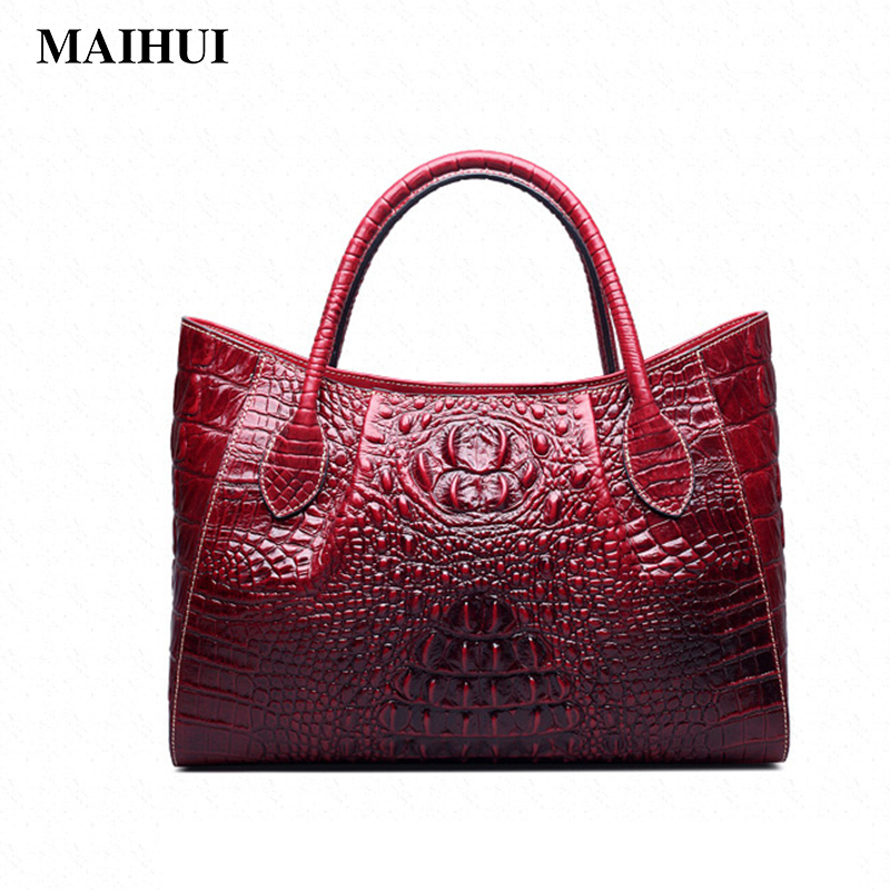 Maihui women leather handbags large capacity shoulder bags real genuine leather top-handle new fashion alligator composite bag cossloo women genuine sheepskin leather handbags messenger bags real leather handbags fashion large shoulder bags free shipping
