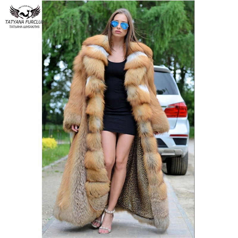 Tatyana Furclub Capped Woman Winter 2019 Fashion Clothing High Quality Jacket Real Fur Top Luxury Real Natural Red Fox Fur Coats