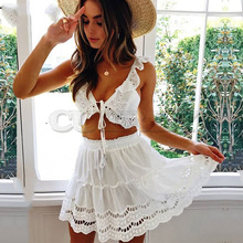 Cuerly Sexy white lace ruffle dress Elegant party summer beach women two piece set Female cool casual short femaleL5