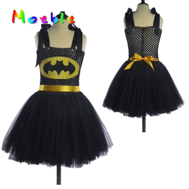 Superhero Kids Halloween Costume Tutu Dress Children Party Dresses Baby Girls Batman Tutu Dress  DT-1619 black batman summer baby girl lace tutu dress bowknot kids halloween cosplay party dresses robe princesse fille children costume