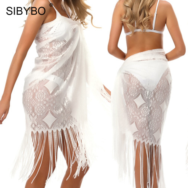 Sibybo 2018 Sexy Tassel Bikini Cover Up White Mesh Swimwear Cover Up Women Robe De Plage Beach Cardigan Bathing Suit Cover Ups