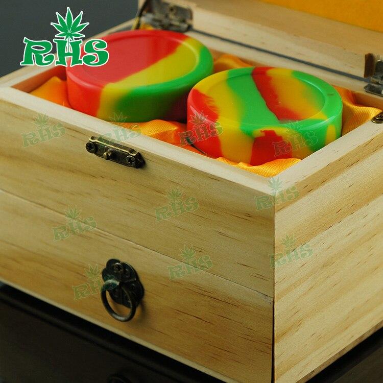Avec un beau paquet en bois ou en bambou matériau pots en silicone dab cire conteneur cire huile conteneur boîte en bois pour huile essentielle