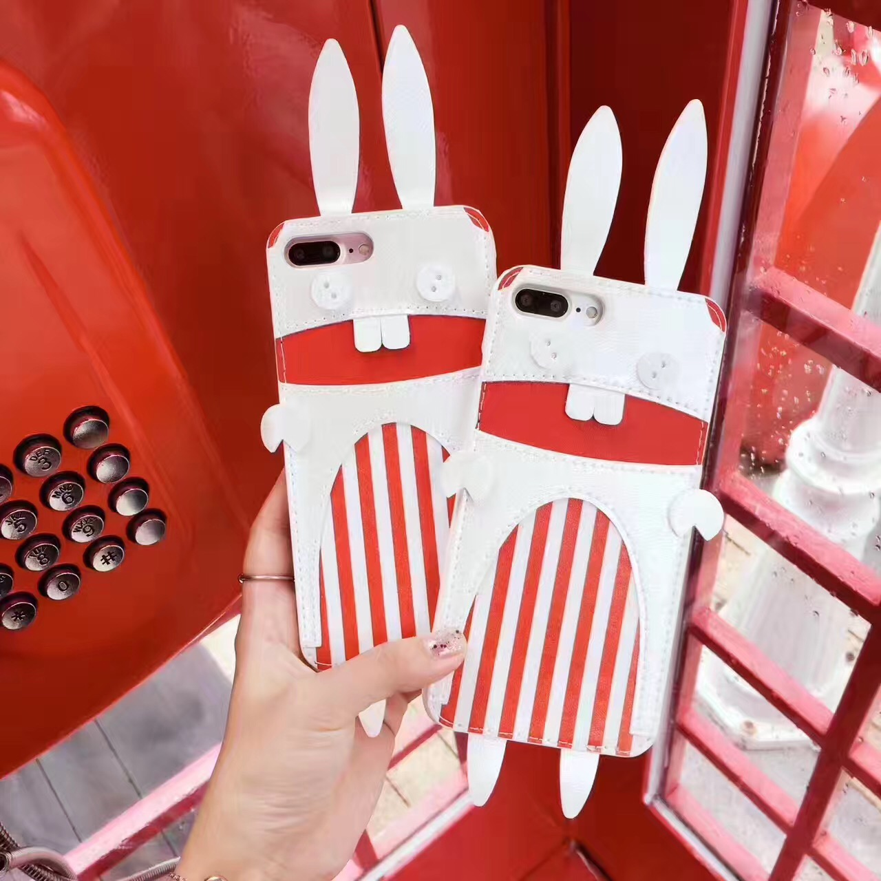 3D Cute Rabbit High Quality PU anti-knock hard with card pocket phone Cases For iPhone 7 7 Plus 6 6S Plus Fundas Capa Cover